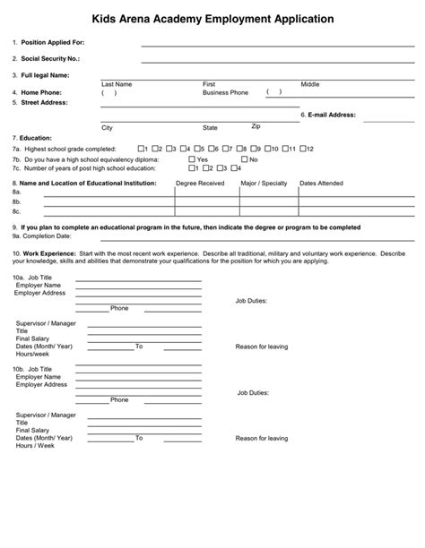 sle generic application for employment sle application form in word and pdf formats