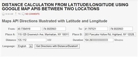 Search Distance Between Two Addresses Distance Calculation From Latitude Longitude Using