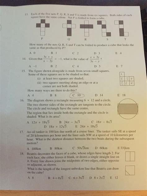 ukmt senior maths challenge ukmt senior maths challenge 2014 thread page 6 the