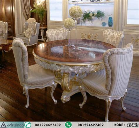 Meja Makan Klasik meja makan bundar klasik mewah inlay arts indo furniture