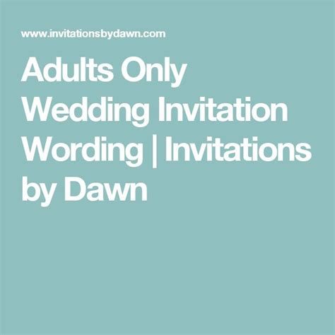 Adults Only Wedding Invitation