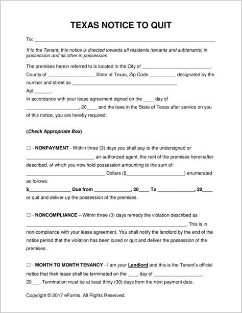 eviction notice form texas form resume exles