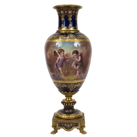 Ormolu Vase by Ormolu Mounted S 232 Vres Style Porcelain Vase For