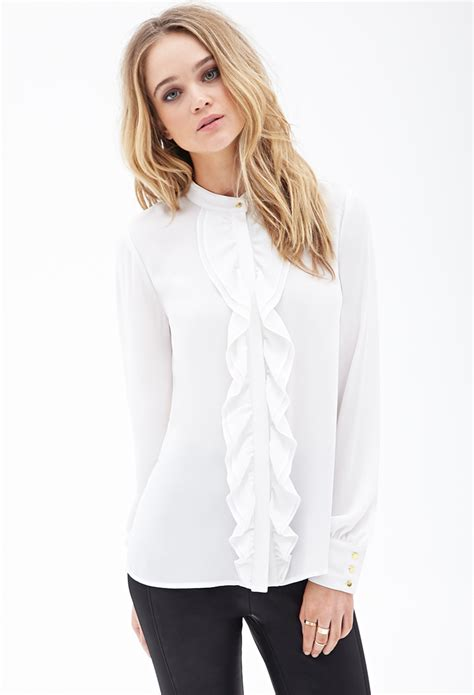 Blouse Daun forever 21 ruffled button blouse in white lyst