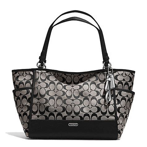 Coach Blacknwhite coach f28728 park signature carrie tote handbags coach