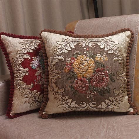 massage decorative covers chenille fabric jacquard embroidered cushion covers royal