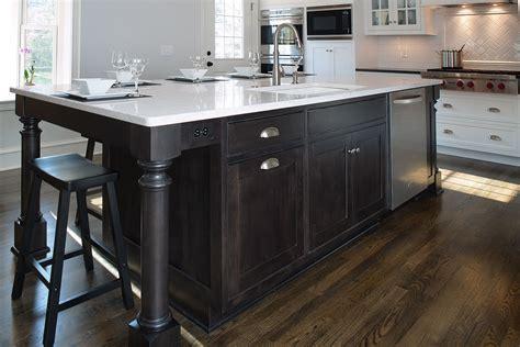 espresso wood floor l mullet cabinet white transitional kitchen