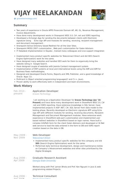Application Developer Resume by Application Developer Resume Sles Visualcv Resume Sles Database