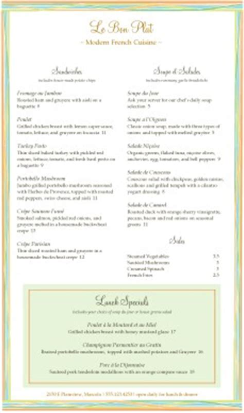 french dinner menu long french menus