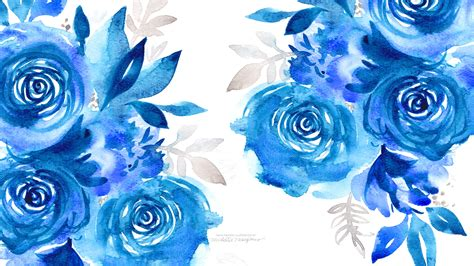 wallpaper blue flowers design january watercolor desktop downloads custom invitations