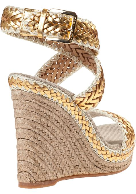 Wedges Gold 1 burch lilah wedge espadrille gold leather in metallic