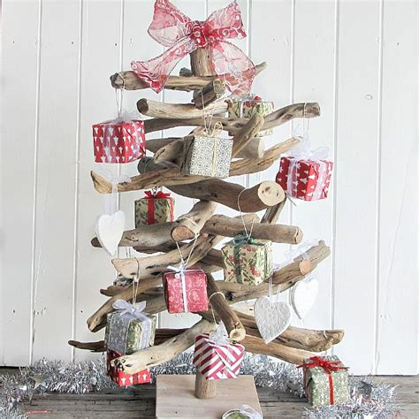 driftwood christmas tree with decorations for an aussie
