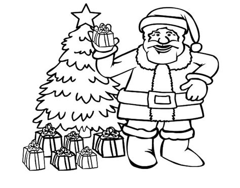 christmas tree with santa claus coloring page santa claus and beautiful christmas tree coloring pages