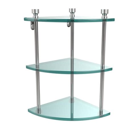 3 Tier Glass Shelf by Allied Brass Mambo Collection 8 In 3 Tier Corner Glass