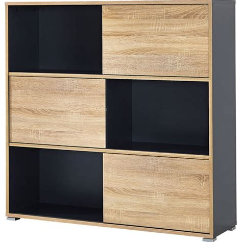 shelving units with doors slide shelving unit in anthracite with 3 oak sliding door