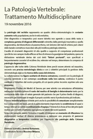 november testo 19 novembre 2016 la patologia vertebrale trattamento