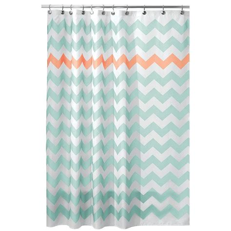 coral chevron shower curtain interdesign 72 in x 72 in chevron shower curtain in
