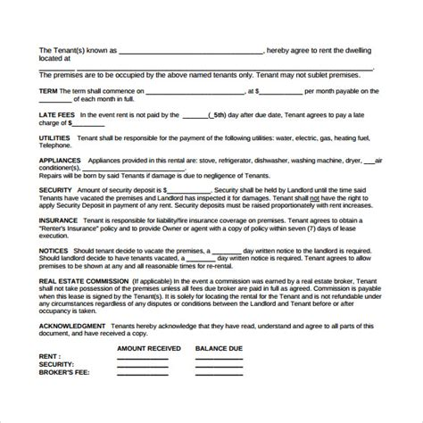 blank rental agreement template sle blank lease agreement 6 exle format