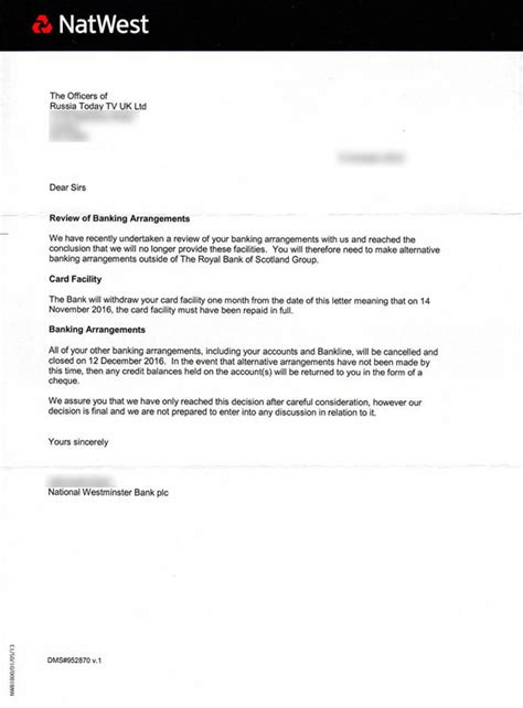 closing account letter uk natwest denies closing russia today s bank accounts
