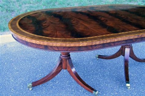 formal oval inlaid mahogany dining table  leaves