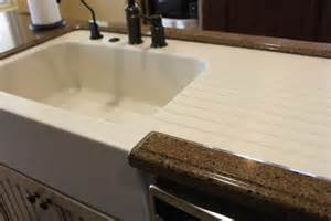 Kitchen Countertops And Sinks Custom Made Corian Farm Sink With Drainboard In A Hanstone Quartz Countertop For The Home