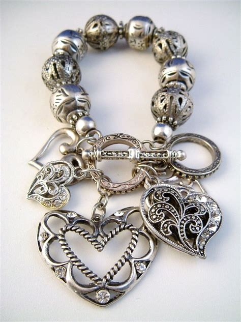 dangle filigree vintage silver charm bracelet