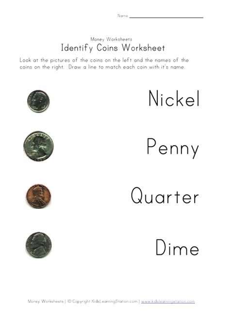 Coin Values Worksheet by Coin Names Matching Worksheet Learning Station