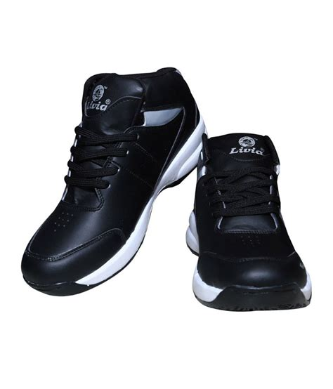 leather sport shoes for livia black synthetic leather sport shoes price in india