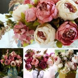 Silk Wedding Flowers Uk - wedding bridal artificial peony silk flowers 1 bouquet
