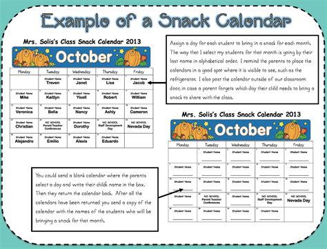 monthly snack calendar template snack calendars images frompo