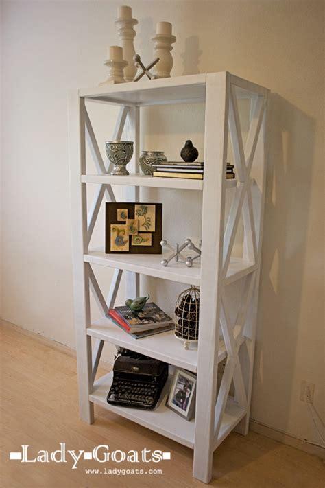 white rustic x bookshelf diy projects
