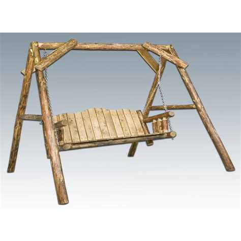 swing a frame montana woodworks 174 glacier country log lawn swing with a