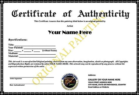art certificate of authenticity template sle templates