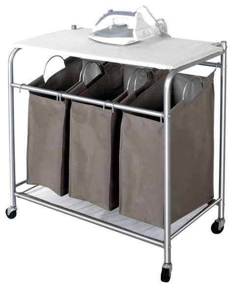 sectioned laundry suds 3 section rolling her with ironing board contemporary hers by appearances