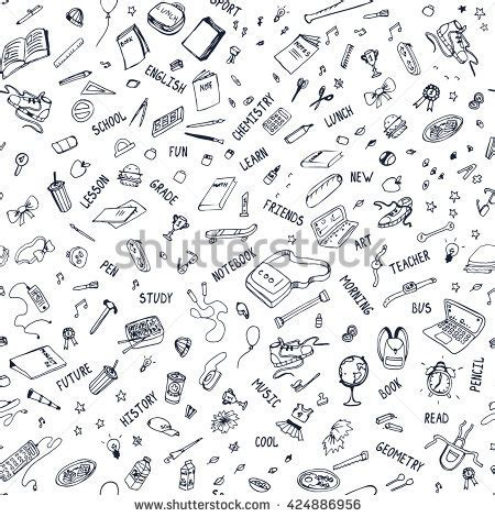 doodle pattern school love science various science icons arranged stock vector