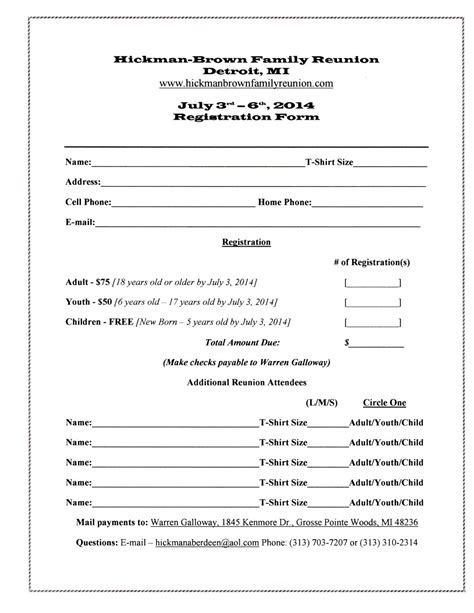 Family Reunion Registration Form Template Sle Registration Form 2 Pinterest Family C Registration Form Template