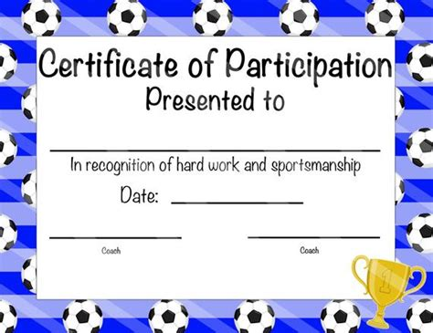 Soccer Certificate Of Participation Soccer By Otpartyprintables Soccer Award Template