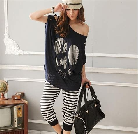 clothes for short heavy women 2012 new summer women clothing rock heavy metal skull