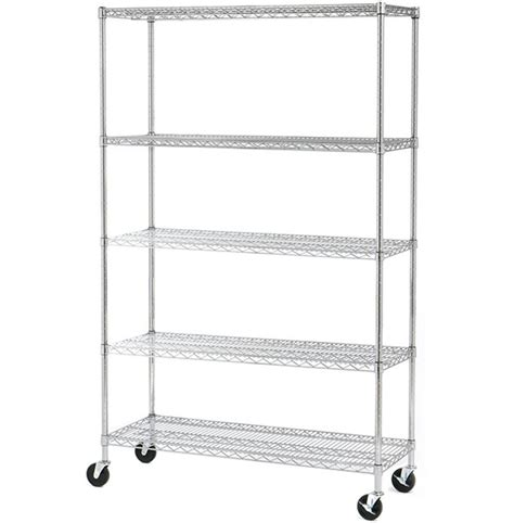 Wire Shelf System by Seville Classics 5 Shelf Wire Shelving System With Wheels