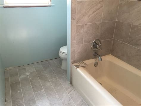 bathroom renovation large rectangle grey tile from lowes