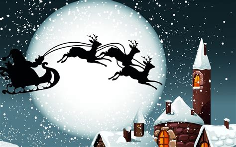 holidays christmas reindeer sleigh santa claus wallpaper