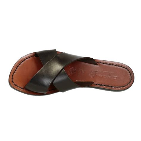 brown leather sandals womens brown leather slide sandals for handmade gianluca