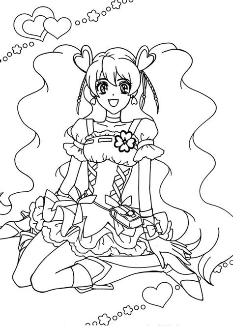 pretty cure characters anime coloring pages for kids printable free pretty cure anime girls coloring pages for kids printable