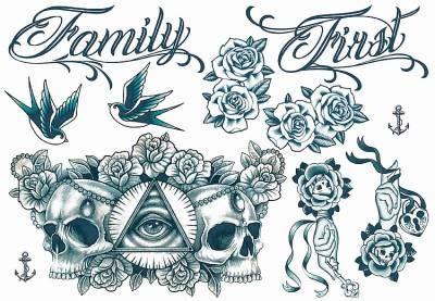 rose tattoo on neck gang gangsta day of the dead temporary tattoos sheet tattoos