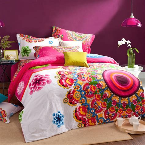 bright colored comforters pink white and orange bright colorful a peacock in his