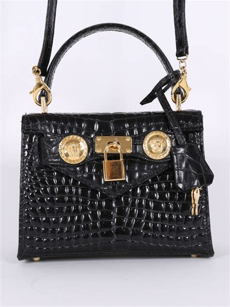 With Versace Purse by Versace Black Croco Style Small Handbag With