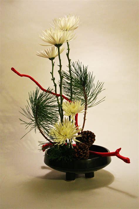 Orange Floor Vase Christmas Ikebana With Chrysanthemums And Pine Keith Stanley
