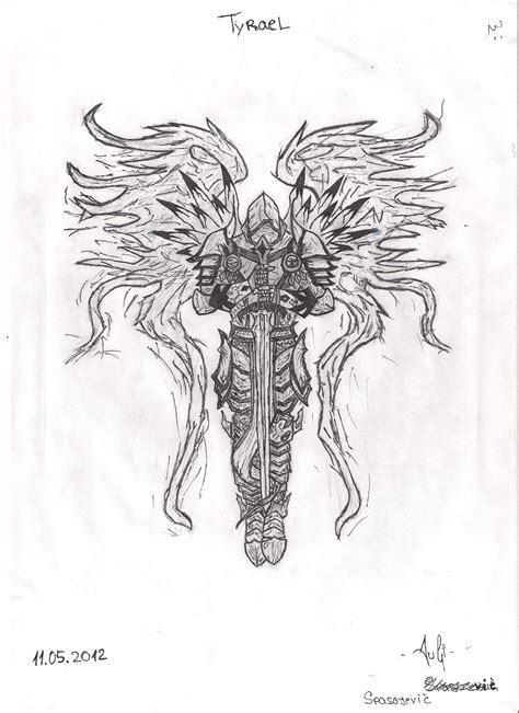 tyrael the archangel of justice pencil drawing by