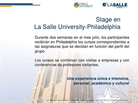 Una Accounting Mba by Presentacion Mba Philadelphia La Salle Madrid