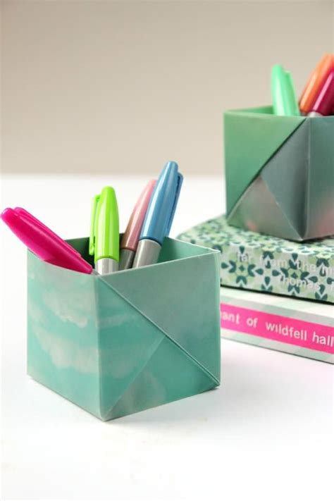 Origami Pencil Holder - dress your desk in style with these origami pen holders